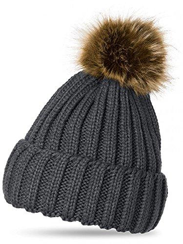 Sevello Clothing Womens Winter Rib Knitted Beanie Chunky Faux Fur Bobble PomPom (Dark Grey)