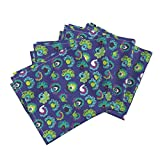 Roostery Peacock India Birds Indian Exotic Girls Paradise Organic Sateen Dinner Napkins Blue India Peacock Birds by Littlesmilemakers Set of 4 Dinner Napkins