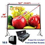"Antra 16:9 Fast Fold Projector Projection Screen with Front & Rear Projection Material on Heavy Duty Frame w/ Carry Case (180"" Diagonal / 13.1' X 7.4') with Drape Kits"
