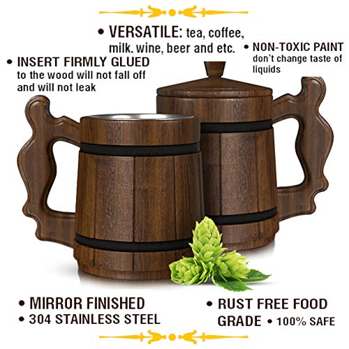 Wooden Beer Mug DND Stein -Premium Groomsmen Gifts Pirate Viking Cup Men Fantasy Medieval Tavern Wood Tankard Oak Lid 20 oz Stainless Steel Mugs Lord Rings Dungeons Dragons World Warcraft Game Thrones