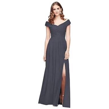 47fb5682aac David s Bridal Crisscross Off-The-Shoulder Mesh Bridesmaid Dress Style  F19951