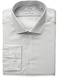 Men's Non Iron Slim Fit Dobby Spread Collar Dress Shirt