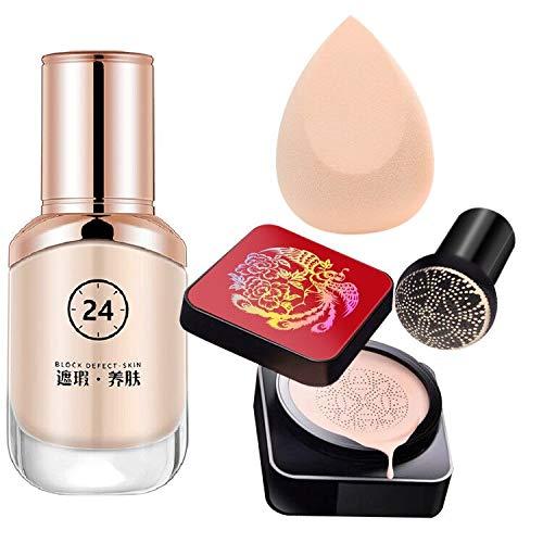 Matte Liquid BB Foundation Medium Coverage with Mushroom Air CC Cream Moisturizing Medium Concealer Long Lasting…