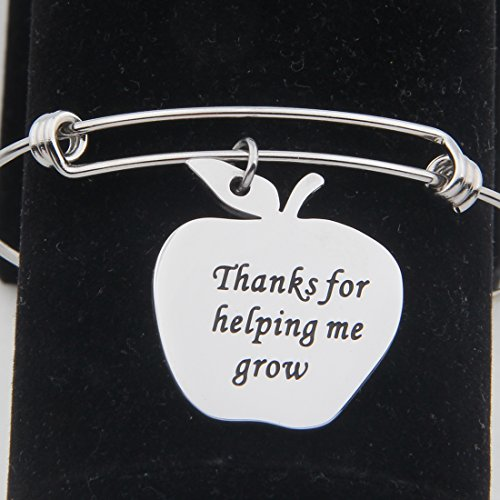 Teacher Appreciation Gift Thanks for Helping Me Grow Apple Charm Necklace Bracelet Keychain
