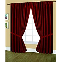 Editex Home Textiles Elaine Lined Pinch Pleated Window Curtain, 48 by 63-Inch, Burgundy