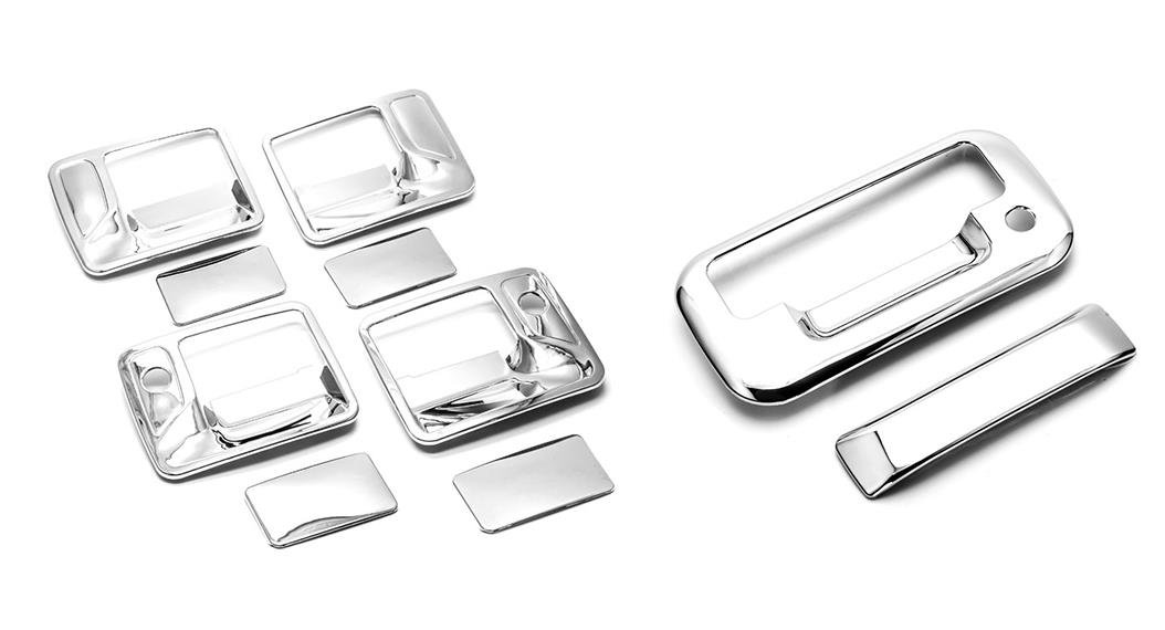 Sizver Chrome Door Handle Covers For 1999-2015 Ford F350Fits 4 door crew cab only