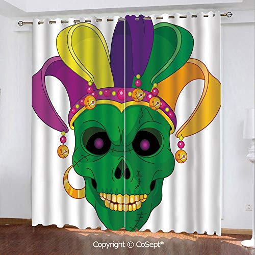 - CoSept Solid Polyester Window Curtain,Scary Looking Green Skull Mask with Carnival Hat Beads and Earring Cartoon Style Decorative,for Living Room,Set of 2 Curtain Panels,51.96x96.45 Inch,Multicolor