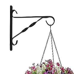 Amagabeli Hanging Plants Bracket 10'' Wall Planter Hook Flower Pot Bird Feeder Wind Chime Lanterns Hanger Outdoor Indoor Patio Lawn Garden for Shelf Shelves Fence Screw Mount against Door Arm Hardware