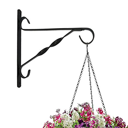 Amagabeli Hanging Plants Bracket 10'' Wall Planter Hook Flower Pot Bird Feeder Wind Chime Lanterns Hanger Outdoor Indoor Patio Lawn Garden for Shelf Shelves Fence Screw Mount against Door Arm Hardware (Brackets Flower Pot)
