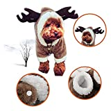 ZEEY Cute Cartoon Pet Dog Christmas Elk Costume Puppy Hoodie Coat Jacket Clothes Soft Coral Velvet Fleece Winter Warm Hooded Sweater Jumpsuit Outfit Apparel Dogs Cats (XS)