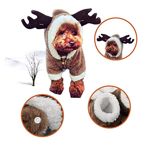 ZEEY Cute Cartoon Pet Dog Christmas Elk Costume Puppy Hoodie Coat Jacket Clothes Soft Coral Velvet Fleece Winter Warm Hooded Sweater Jumpsuit Outfit Apparel Dogs Cats
