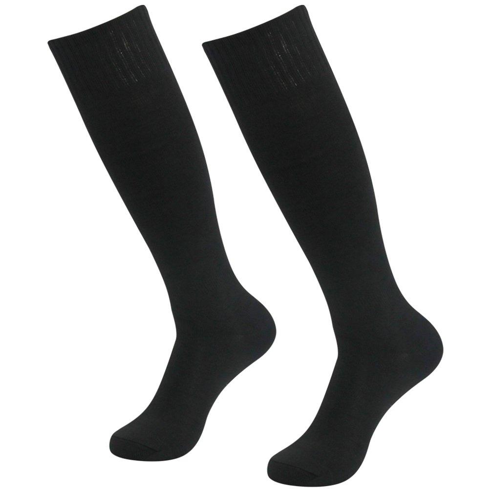 getsporユニセックスサッカーソックスチームスポーツロングチューブソックスKnee High 2 /4 /6 /12ペア B077JF2X5H Black 2 Pairs Black 2 Pairs