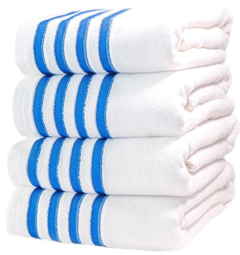 4 Premium Bath Towels Pool-Towels Beach-Towels. 100% USA Cotton Bath-Sheets 4 Massive Hotel Spa Quality Super Luxury Palazzo Absorbent & Durable. 4 Pack White with Blue Stripes. By Paradise Linen