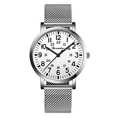 Unisex Men Women Stainless Steel Mesh Band Quartz Watch Lady for Medical Professionals Arabic Numerals Military Time for Students Doctors Nurses Milan Band