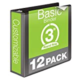 Wilson Jones 3 Inch 3 Ring Binder, Basic Round Ring View Binder, Black, 12 Pack (W362-49BPK)
