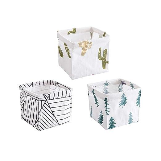 cosas peque/ñas llaves Fellibay Cesta de almacenamiento peque/ña plegable de algod/ón y lino para colgar en la pared para juguetes maquillaje