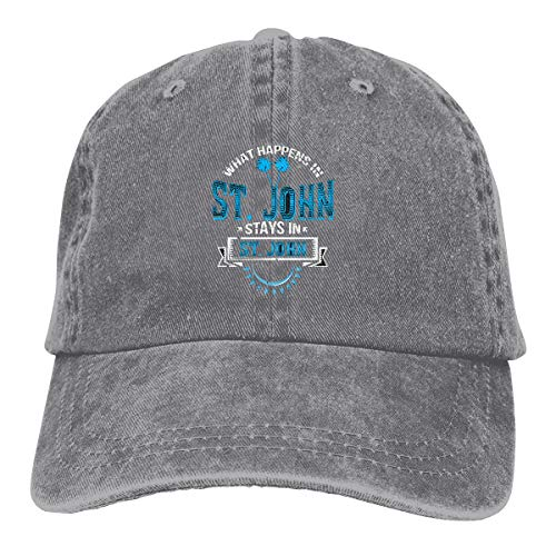 St Johns Virgin Islands - Yishour Funny Saying St. John Caribbean US Virgin Island Vintage Adjustable Jeans Cap Baseball Caps Forman and Woman Gray