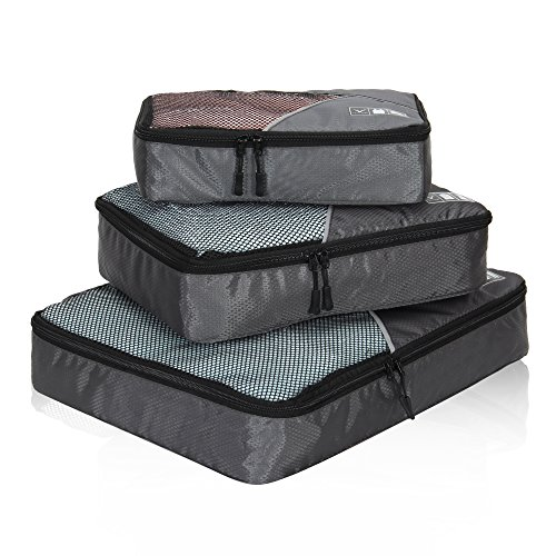 Hynes Eagle Travel Packing Cubes 3 Pieces Value Set, Grey (3 Cubes Packing Piece Large)