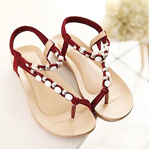Casual Toe Flops Women Beaded Flip Bohemia Jamicy Open Red Summer Sandals qIRHEqwS