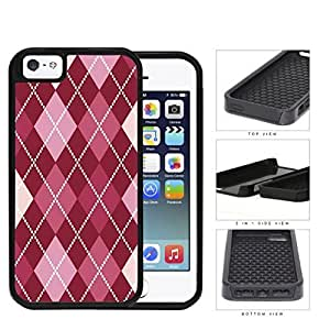 Preppy Argyle With Pink Variations 2-Piece Dual Layer High Impact Rubber Silicone Cell Phone Case Apple iPhone 5 5s by icecream design