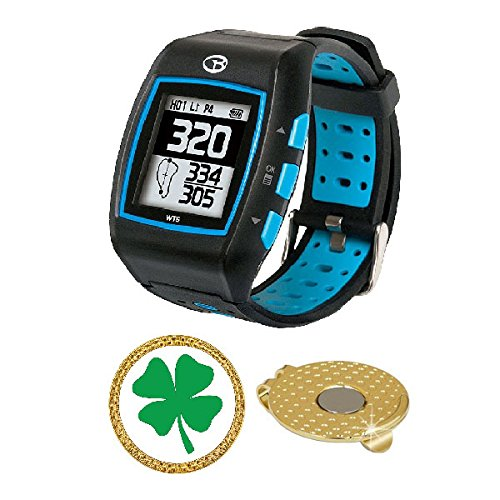 GolfBuddy WT5 Golf GPS/Rangefinder Watch (40k+ Preloaded Worldwide Courses) Bundle with Magnetic Hat Clip Ball Marker (Four Leaf Clover)