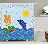 Ambesonne Mermaid Decor Collection, Dolphin and Mermaid Girl on the Sea Waves Colorful Summer Time Drawing Image, Polyester Fabric Bathroom Shower Curtain Set with Hooks, Navy Blue Green Yellow