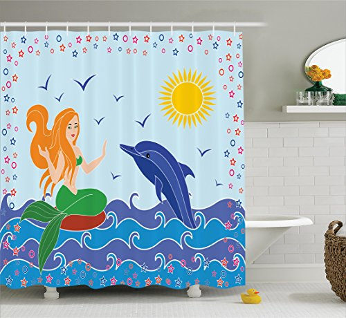(Ambesonne Mermaid Decor Collection, Dolphin and Mermaid Girl on the Sea Waves Colorful Summer Time Drawing Image, Polyester Fabric Bathroom Shower Curtain Set with Hooks, Navy Blue Green Yellow)