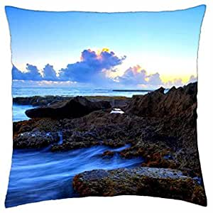 THE BLUE SEA - Throw Pillow Cover Case (18