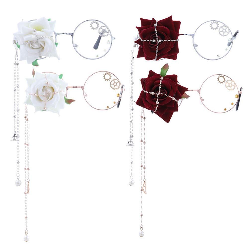 Man9Han1Qxi Metall Red Stoff Mode Unisex Runde handgemachte Flower Gear Lange Kette Brillen Brillengestell Rose Gold