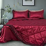 Jameswish Gorgeous Comforter Quilt Sets Silk Like Lace Summer Duvet Quilt Heavy-Duty Breathable Bedspread Brushed Polyester Solid Color Check Blanket King Queen Twin Size
