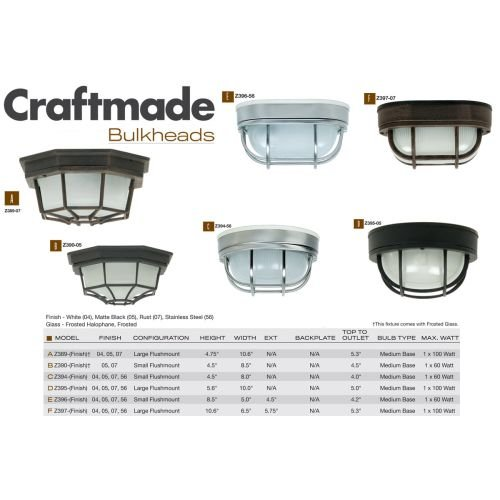 Exteriors Z394-56 Bulkhead 1 Light Flush Mount Light Fixture with Frosted Holophane Glass, Small, Stainless Steel