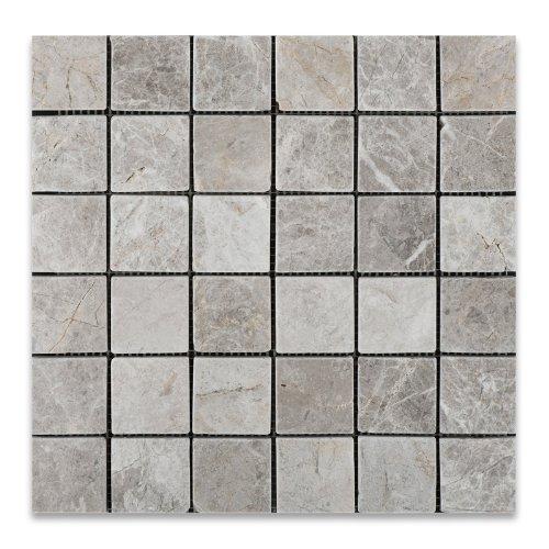 Silverado Gray 2X2 Marble Tumbled Mosaic Tile