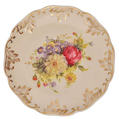 European Style Porcelain Saucer For Cup Cake Pastry Fruit Tray Ceramic Tableware For Steak Dinner Decoration,Flower - Cake Chintz Plate