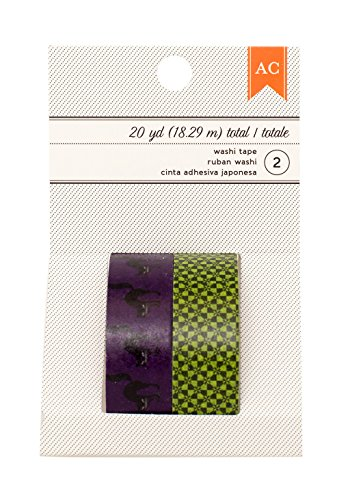 American Crafts Halloween Black Cats & Mint Checker Washi Tape, 20 yd
