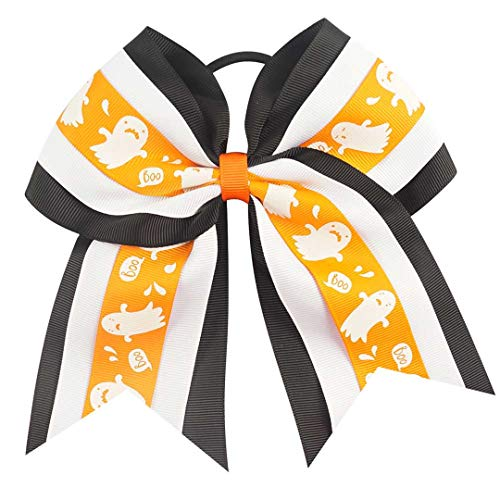 (7 Inch Halloween Cheer Bows Cartoon Boutique Hair Bows With Elastic Hair Bands For Girls Handmade Hair Ponytail Hair Accessories)