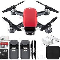 DJI Spark Portable Mini Drone Quadcopter + DJI Goggles Virtual Reality VR FPV POV Experience Essential Bundle (Lava Red)