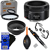 Canon EF 50mm f/1.8 ''STM'' Lens for Canon SLR Cameras (International Version) + 7pc Bundle Accessory Kit w/ HeroFiber Ultra Gentle Cleaning Cloth