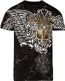 Sakkas T807 - Mads Mens Gold Cross & Wings Metallic Embossed T-Shirt Short Sleeve Cotton - Black - L