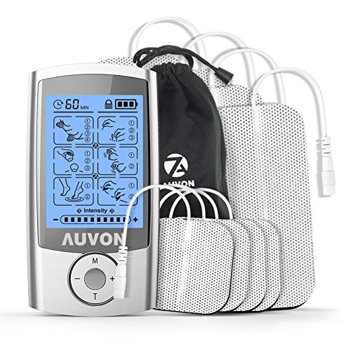 AUVON Rechargeable TENS Unit Muscle Stimulator (FDA 510K Cleared), 2nd Gen16 Modes 2-in-1 EMS TENS Machine with Upgraded Self-Adhesive Reusable TENS Electrodes Pads (2