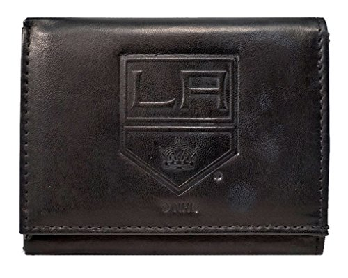 Rico Los Angeles Kings NHL Embossed Logo Black Leather Trifold Wallet