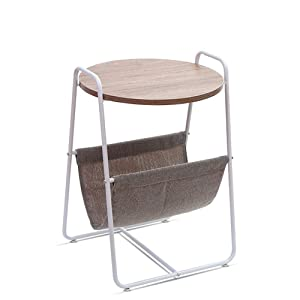 Table Xia Comodino Rotondo in Legno con Cesto portaoggetti e Tessuto Grigio 460 * 405 * 655mm (Colore : White Tube)