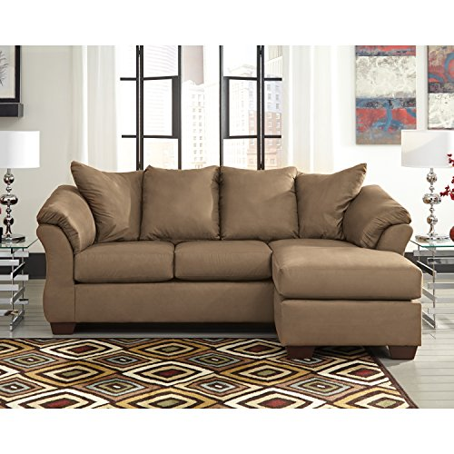 Flash Furniture FSD-1109SOFCH-MOC-GG Mocha Microfiber Chaise Living Room Sofa