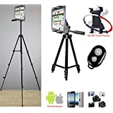 """ChargerCity Periscope Live Video Streaming Photo Booth 7-12"""" Tablet Stand w/52"""" Basics TRIPOD, 360° Vibration Free Joint mount Holder & Bluetooth Remote for Apple iPad Air Pro MINI Samsung Galaxy Tab"""