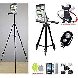 "ChargerCity Periscope Live Video Streaming Photo Booth 7-12"" Tablet Stand w/Basics TRIPOD, 360° Vibration Free Joint mount Holder & Bluetooth Remote for Apple iPad Air Pro MINI Samsung Galaxy Tab"