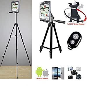 """ChargerCity Periscope Live Video Streaming Photo Booth 7-12"""" Tablet Stand w/52"""" TRIPOD, 360° Vibration Free Joint mount Holder & Bluetooth Remote for Apple iPad Air Pro MINI Samsung Galaxy Tab Tablets"""