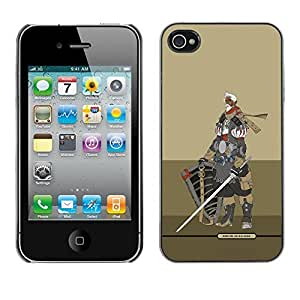 Colorful Printed Hard Protective Back Case Cover Shell Skin for Apple iPhone 4 / iPhone 4S / 4S ( Knight Warrior Beige Armor Sword )