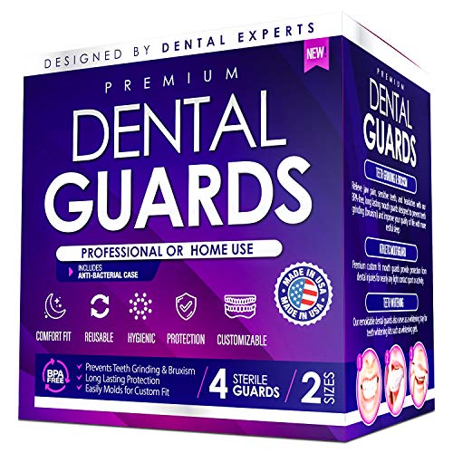 Professional Dental Mouth Guards - Custom Bite & Comfort Fit Relief for Teeth Grinding Bruxism Clenching. Heavy Duty BPA Free Trimmable Night Mouth Guards - Whitening Tray Case - 4-Pack, 2-Sizes