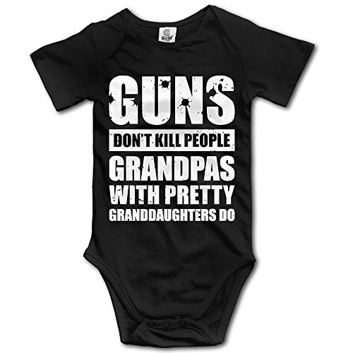 Toddler Old Person Costume (Unisex Baby Guns Don't Kill Grandpas With Pretty Granddaughters Do Christmas Short Sleeve Bodysuit Romper Playsuit Outfits 12 Months)
