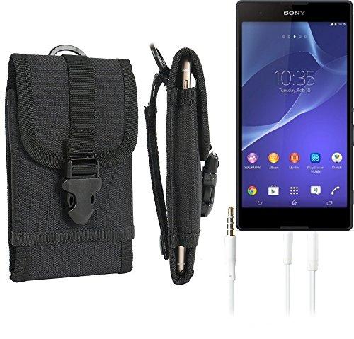 bolsa del cinturón / funda para Sony Xperia T2 Ultra, negro + Auriculares | caja del teléfono cubierta protectora bolso - K-S-Trade (TM)