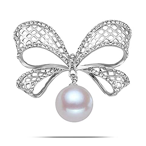 Kalapure Lovely Bow Big Mesh Bowknot Shape Faux Pearl Brooch Pin (D) - Sterling Silver Bow Brooch